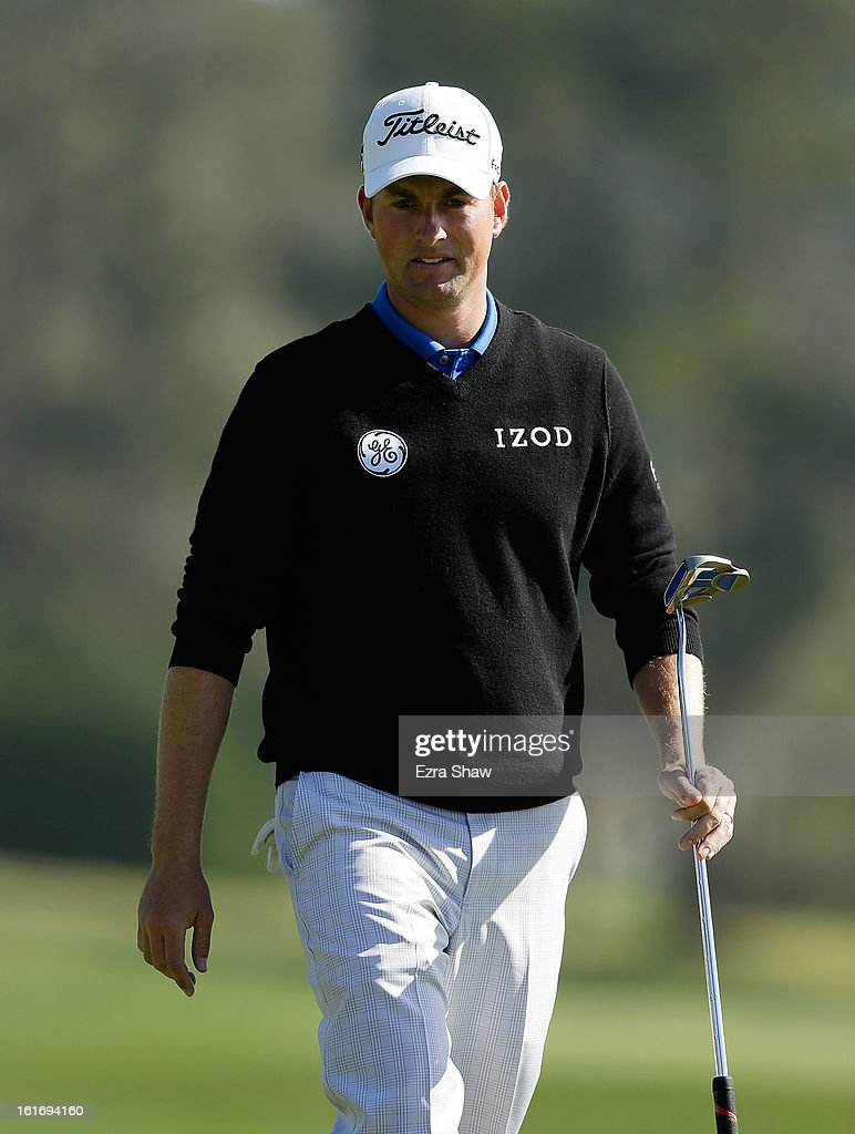 Webb Simpson walks across a green during the final round of the AT&T Pebble Beach National Pro-Am at Pebble Beach Golf Links on February 10, 2013 in Pebble Beach, California.