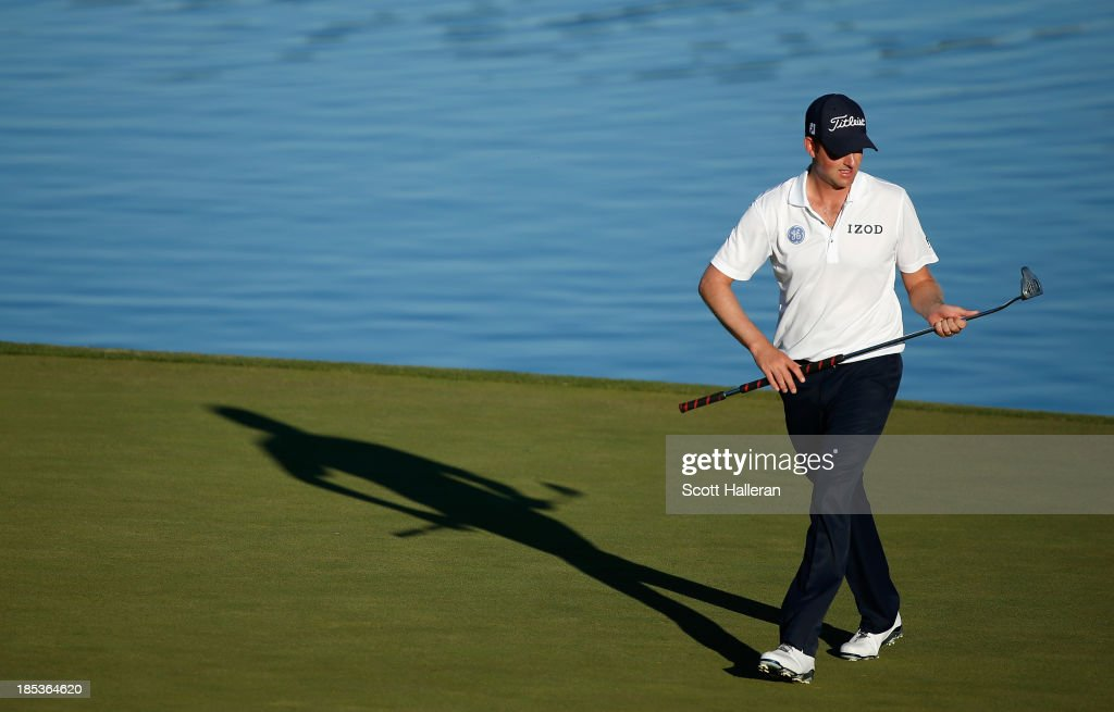 <a gi-track='captionPersonalityLinkClicked' href=/galleries/search?phrase=Webb+Simpson&family=editorial&specificpeople=4466575 ng-click='$event.stopPropagation()'>Webb Simpson</a> walks across the 16th green during the third round of the Shriners Hospitals for Children Open at TPC Summerlin on October 19, 2013 in Las Vegas, Nevada.
