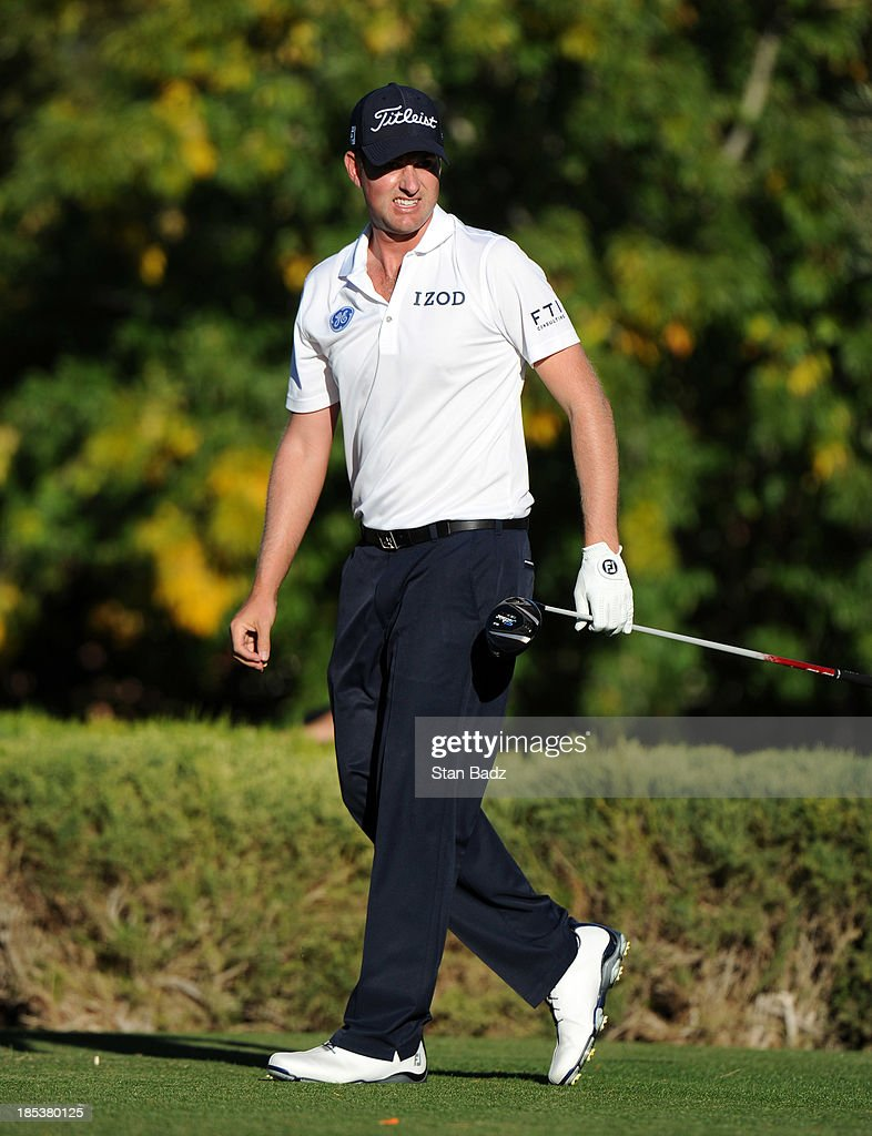 <a gi-track='captionPersonalityLinkClicked' href=/galleries/search?phrase=Webb+Simpson&family=editorial&specificpeople=4466575 ng-click='$event.stopPropagation()'>Webb Simpson</a> watches his drive on the 16th hole during the third round of the Shriners Hospitals for Children Open at TPC Summerlin on October 19, 2013 in Las Vegas, Nevada.