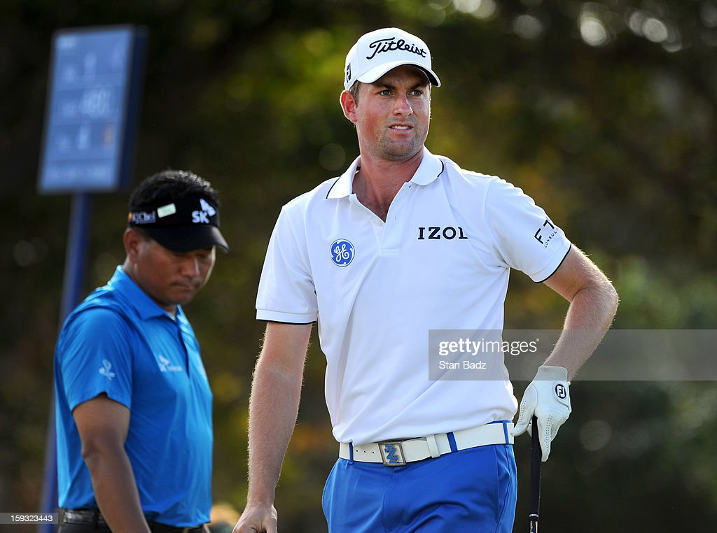 Webb Simpson watches his drive on the first hole during the second round of the Sony Open in Hawaii at Waialae Country Club on January 11, 2013 in Honolulu, Hawaii.