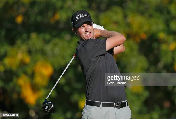 Webb Simpson watches his tee shot on the 16th hole during the final round of the Shriners Hospitals for Children Open at TPC Summerlin on October 20...