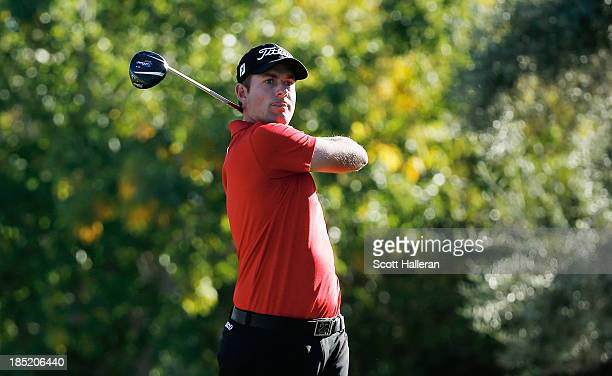 Webb Simpson watches his tee shot on the 16th hole during the second round of the Shriners Hospitals for Children Open at TPC Summerlin on October18...