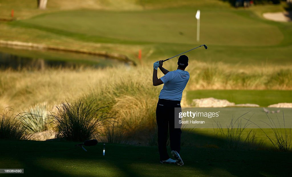 <a gi-track='captionPersonalityLinkClicked' href=/galleries/search?phrase=Webb+Simpson&family=editorial&specificpeople=4466575 ng-click='$event.stopPropagation()'>Webb Simpson</a> watches his tee shot on the 17th hole during the third round of the Shriners Hospitals for Children Open at TPC Summerlin on October 19, 2013 in Las Vegas, Nevada.