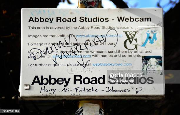 A webcam on Abbey Road in London England broadcasts and records Beatles fans as they walk across Abby Road recreating the famous 1969 Beatles album...