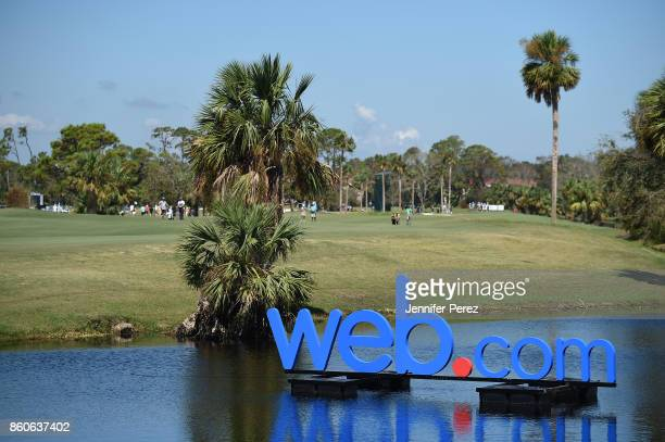 Webcom sign is seen during the second round of the Webcom Tour Championship at Atlantic Beach Country Club on September 29 2017 in Atlantic Beach...