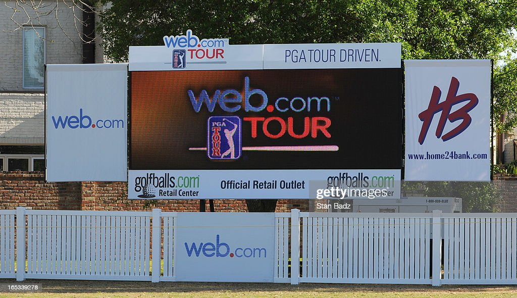 A web.com tour leader board is seen on the 18th hole during the final round of the Chitimacha Louisiana Open at Le Triomphe Country Club on March 24, 2013 in Broussard, Louisiana.