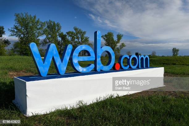 A webcom TOUR logo is displayed on the 18th hole during the final round of the Webcom Tour United Leasing Finance Championship at Victoria National...