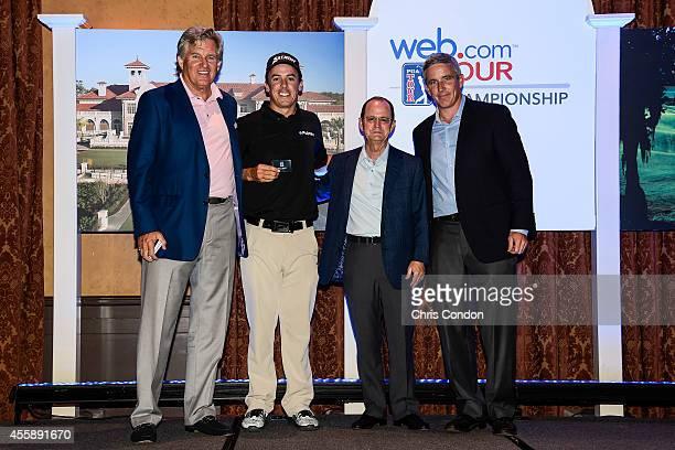 Webcom Tour President Bill Calfee 20142015 PGA TOUR card recipient Jon Curran Webcom Chief Executive Officer David Brown and PGA TOUR Deputy...