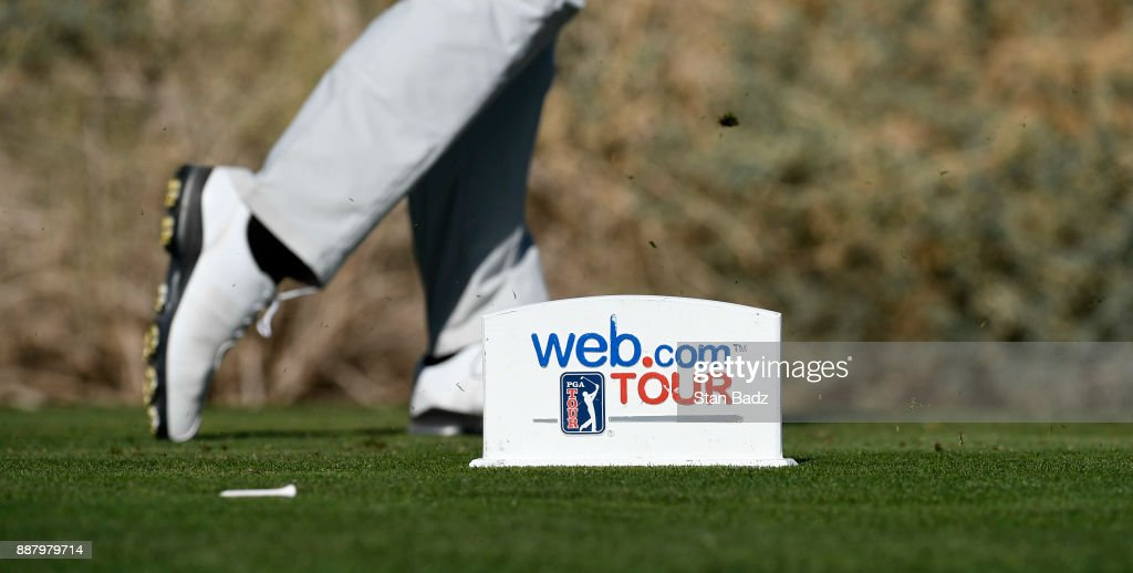 A web.com TOUR tee box marker is located on the 13th hole during the first round of the Web.com Tour Qualifying Tournament at Whirlwind Golf Club on the Devils Claw course on December 7, 2017 in Chandler, Arizona.