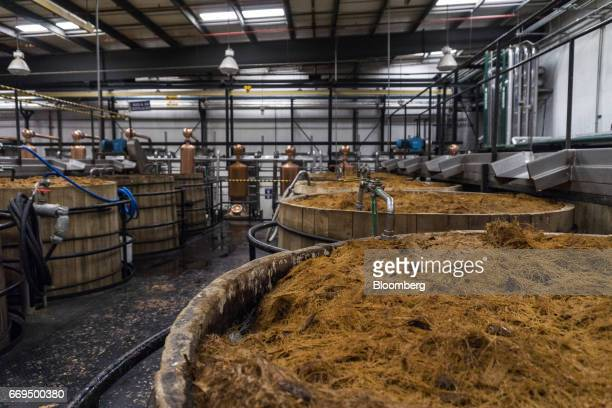 Weber Blue agave fibers sit in open wooden fermentation tanks at the Patron Spirits Co distillery in Atotonilco El Alto Jalisco Mexico on Tuesday...