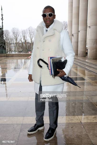 Webmaster Florian wears Givenchy CoatLanvin PantsBurberry ShoesArmani bagAlexander Mc Queen ipad sleeve on January 15 2014 in Paris France
