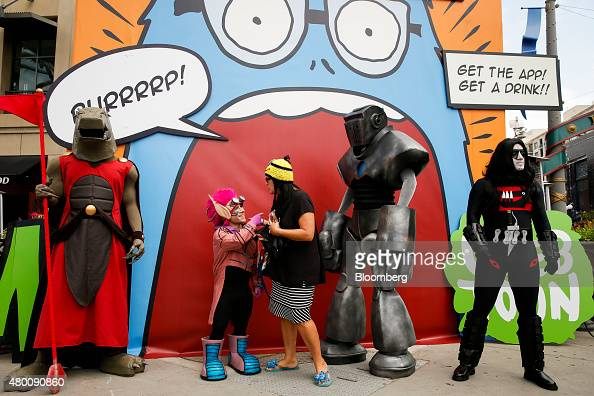 Webtoons characters attend the ComicCon International convention in San Diego California US on Thursday July 9 2015 ComicCon International is a...