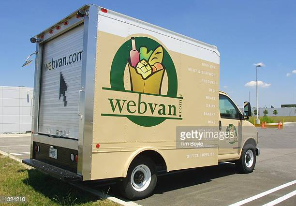 Webvan delivery trucks sits near a distribution center July10 2001 in Carol Stream IL The Webvan Group Inc the sole internet grocer is filing for...