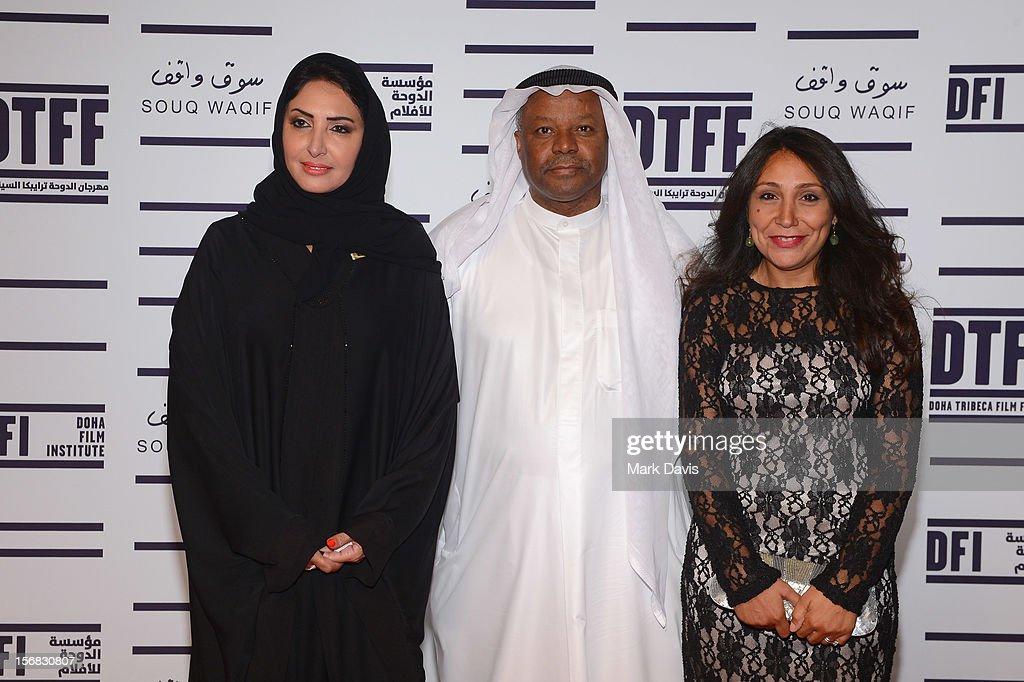 Wedad Al Kawari, Faraj Daham and Haifaa Al Mansour attends the Awards Ceremony at the Al Rayyan Theatre during the 2012 Doha Tribeca Film Festival on November 22, 2012 in Doha, Qatar.
