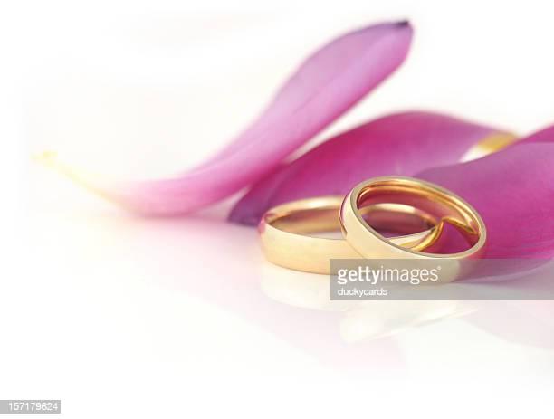 Wedding Bands with Tulip Petals