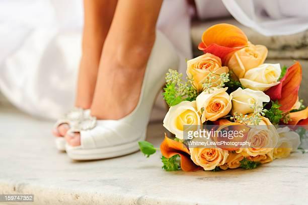 Hochzeit Bouquet und Schuhe