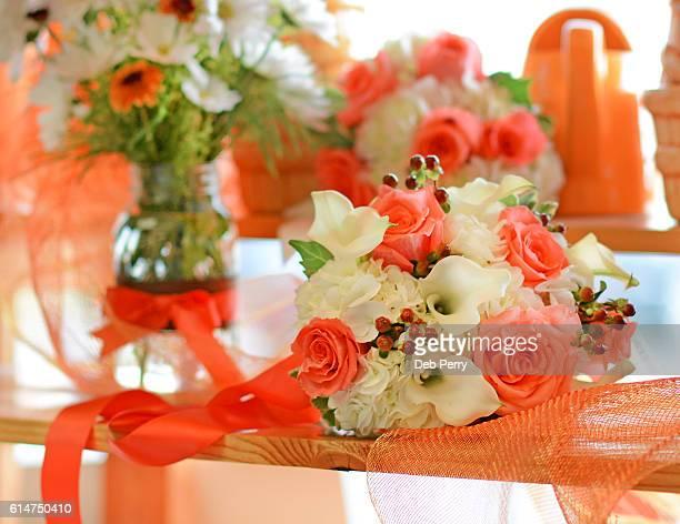 Wedding bouquet in orange and white