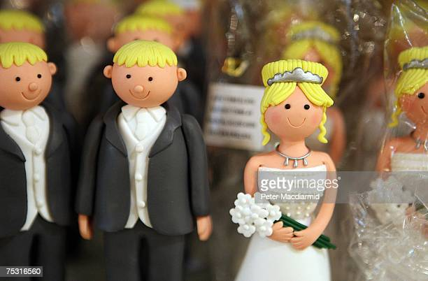 Wedding cake bride groom figures are displayed for sale on July 10 2007 in London