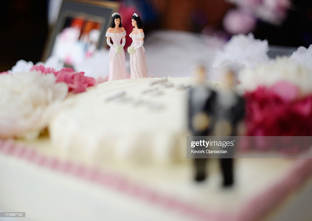 A wedding cake for same-sex couples at a wedding celebration at The Abbey on July 1, 2013 in West Hollywood, California. The U.S. Ninth Circuit Court of Appeals lifted California's ban on same-sex marriages just three days after the Supreme Court ruled that supporters of the ban, Proposition 8, could not defend it before the high court. California Gov. Jerry Brown ordered all counties in the state to begin issuing licenses immediately.