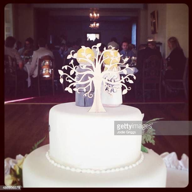 Wedding cake with people sitting at reception in the background
