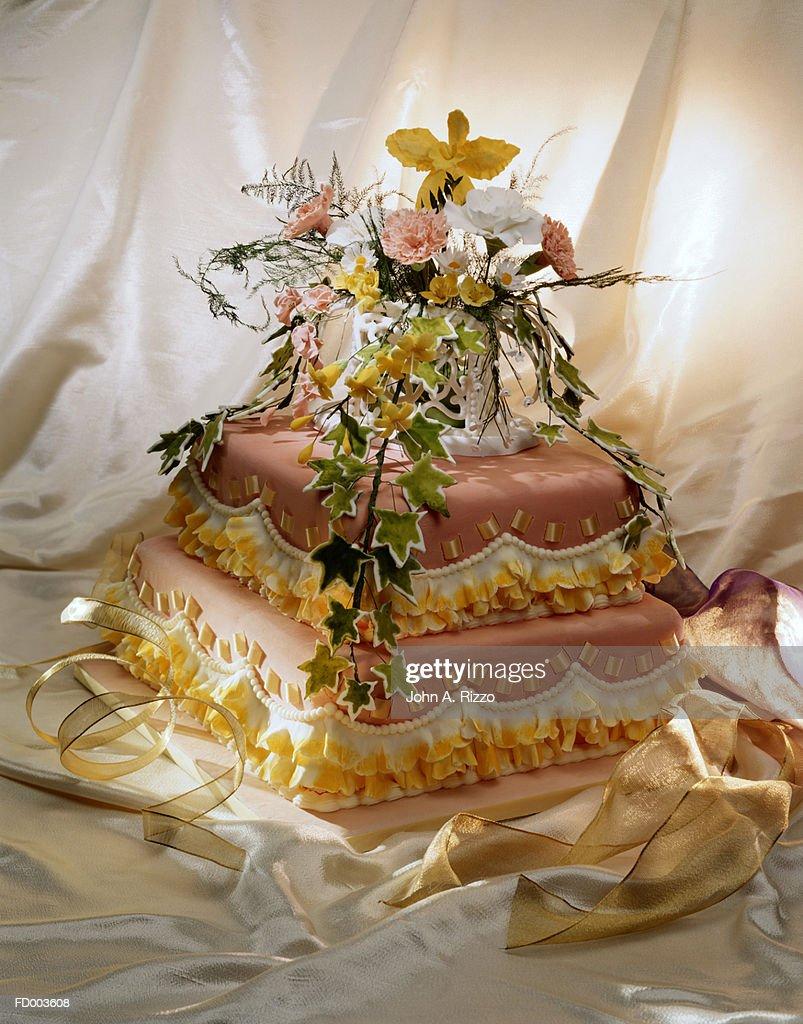 Wedding Cake with Sugar Flowers : Stock Photo