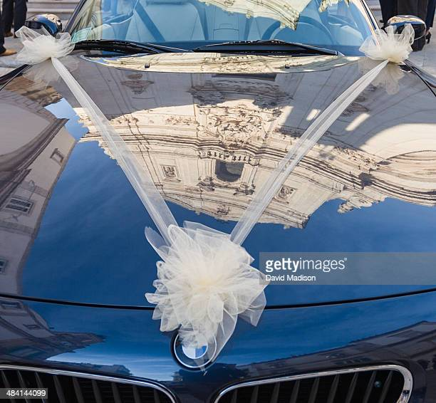 Wedding car outside church