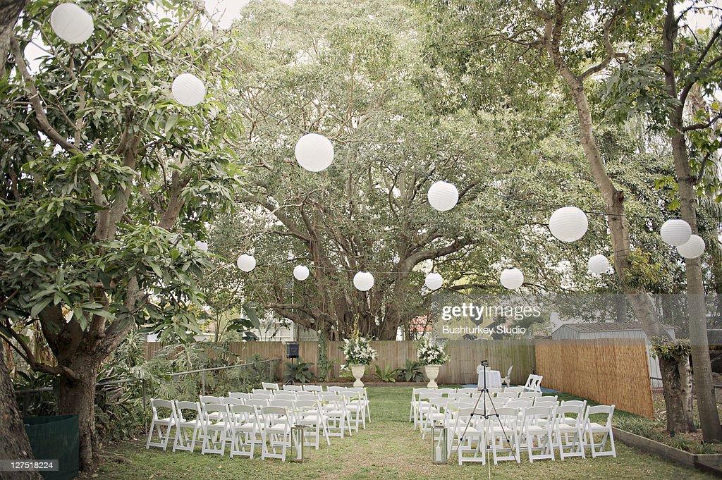 Wedding ceremony outdoor garden