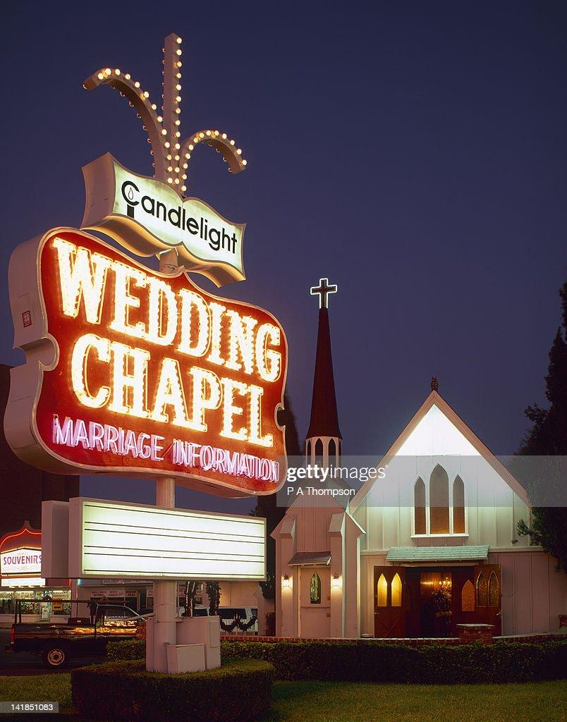 Wedding chapel at night the strip las vegas nevada usa for Wedding chapels in las vegas nevada