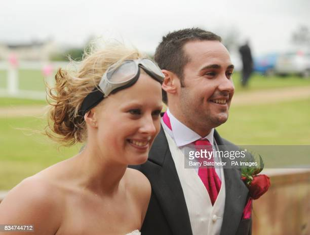 Wedding couple Katie Hodgson and groom Darren McWalters after their wingwalk over Gloucestershire