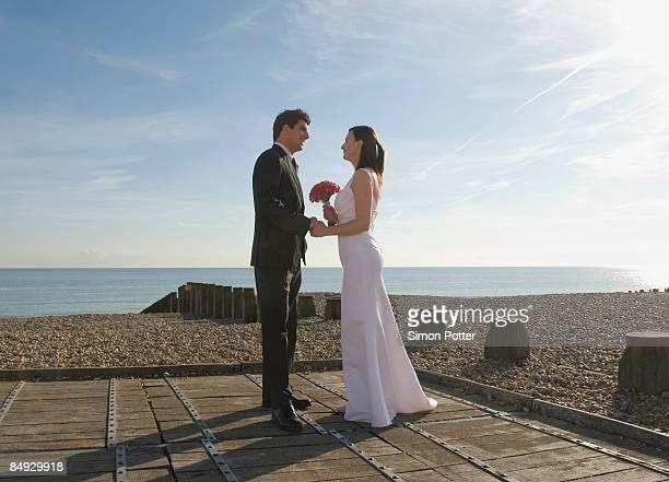 A wedding couple on the beach