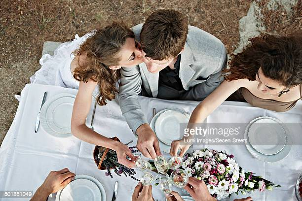 Wedding Couple On Wedding Table Outdoors, Croatia, Europe