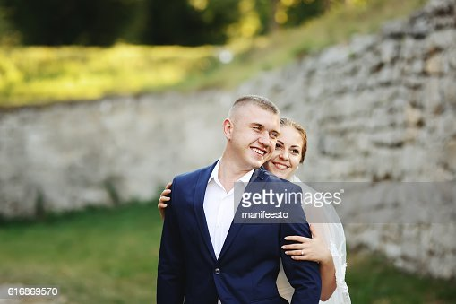 Wedding Couple together, newlyweds in love : Stock Photo