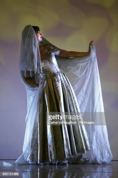 A 2400000 wedding dress created by Italian designer Mauro Adami containing platinum is previewed at the Wedding Journal Show in the Kings Hall Belfast