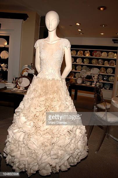 Wedding dress displayed at the Marchesa by Lenox Collection celebration at Bloomingdale's on October 5 2010 in New York City