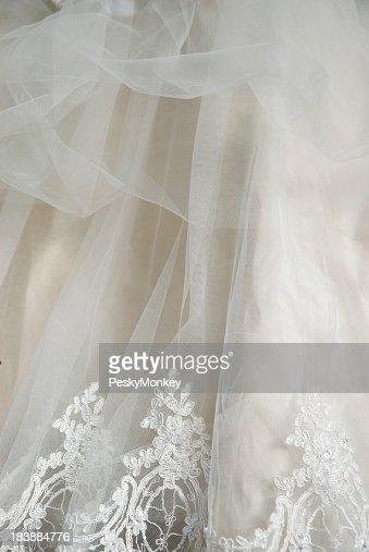 Wedding Dress Lace Chiffon Detail Vertical