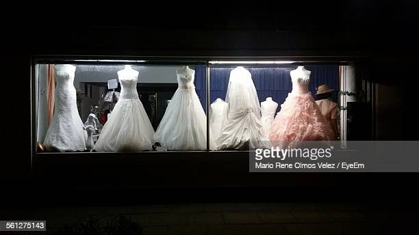 Wedding Dress On Display In Bridal Shop Window