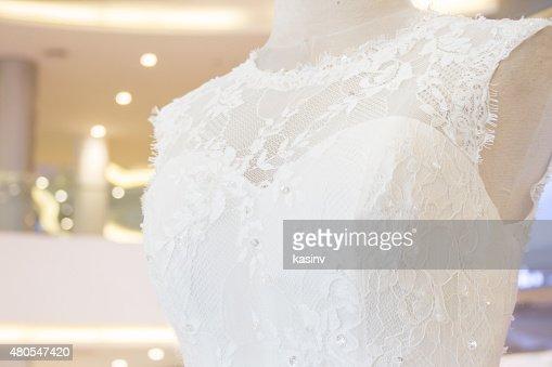 wedding dress on mannequin : Stock Photo