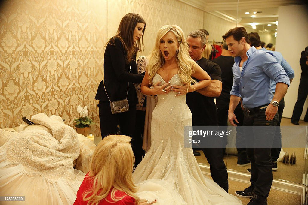 COUNTY-- 'Wedding Dress Stress' Episode 813 -- Pictured: (l-r) Heather Dubrow, Gretchen Rossi, Tamra Barney, fashion designer Mark Zunino, Rene Horsch --