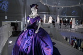 A wedding dress worn by Dita Von Teese at her wedding with Marilyn Manson in 2005 designed by Vivienne Westwood is seen during a press preview for an...