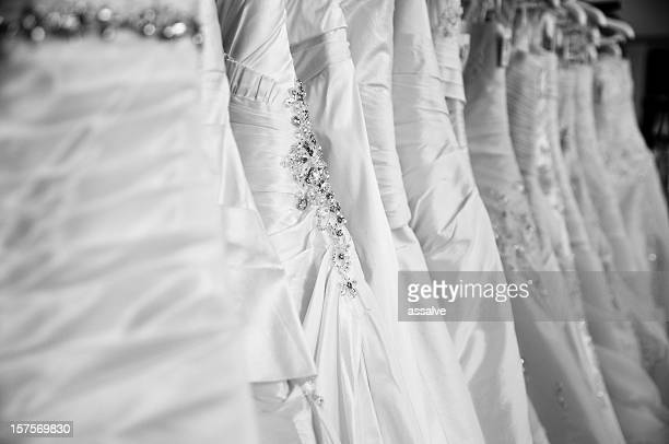 wedding dresses in a shop