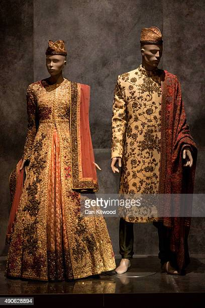 A wedding ensemble is displayed during the press preview of 'The Fabric of India' at the Victoria and Albert Museum on September 30 2015 in London...