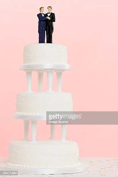 Wedding figurines on top of cake