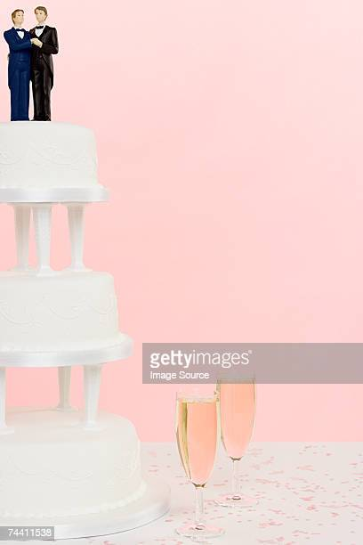 Wedding figurines wedding cake and champagne