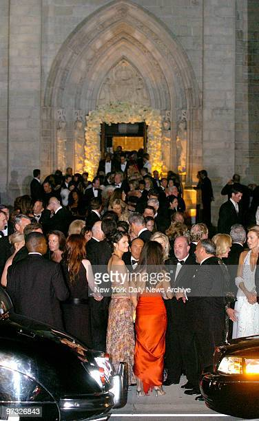 Wedding guests including Billy Joel and wife Kate Lee Joel leave the Episcopal Church of BethesdabytheSea in Palm Beach Fla after the wedding of...