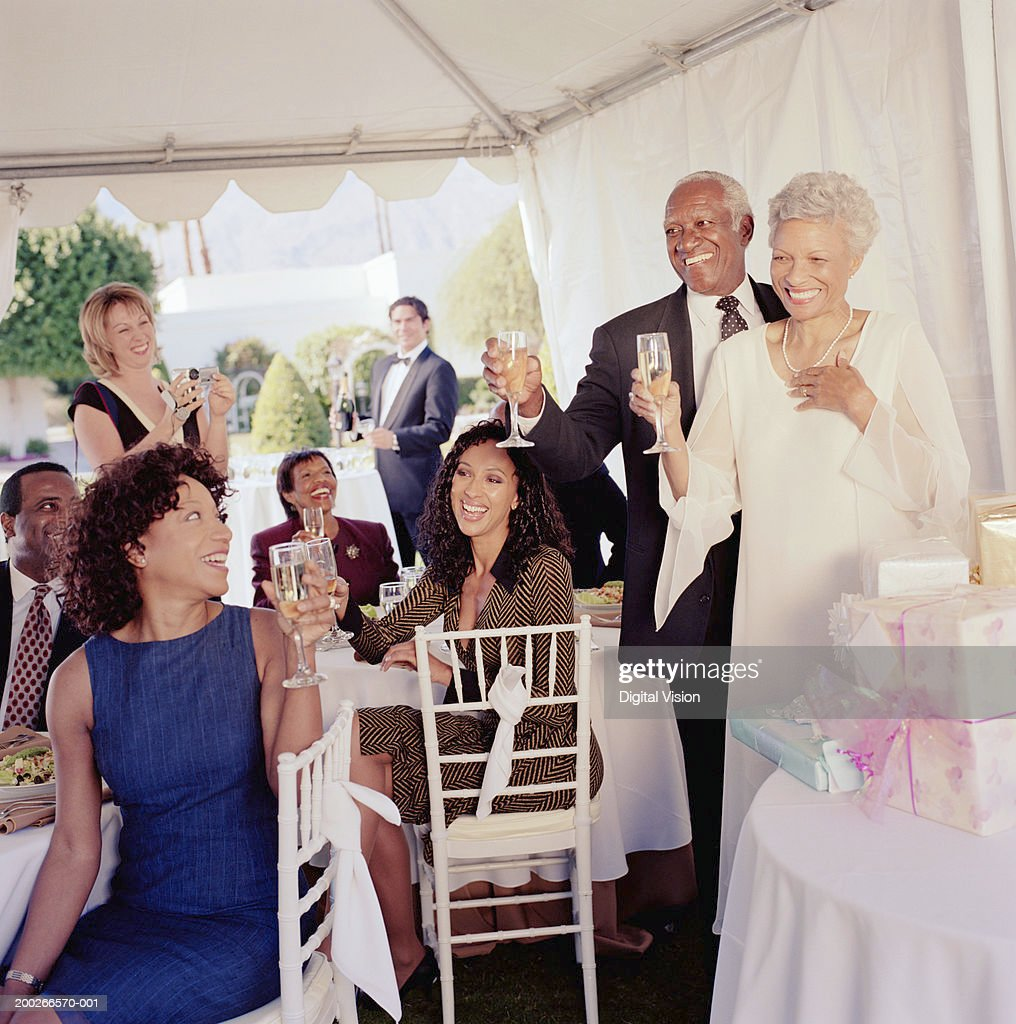 Wedding guests toasting mature couple at reception, smiling : Stock Photo