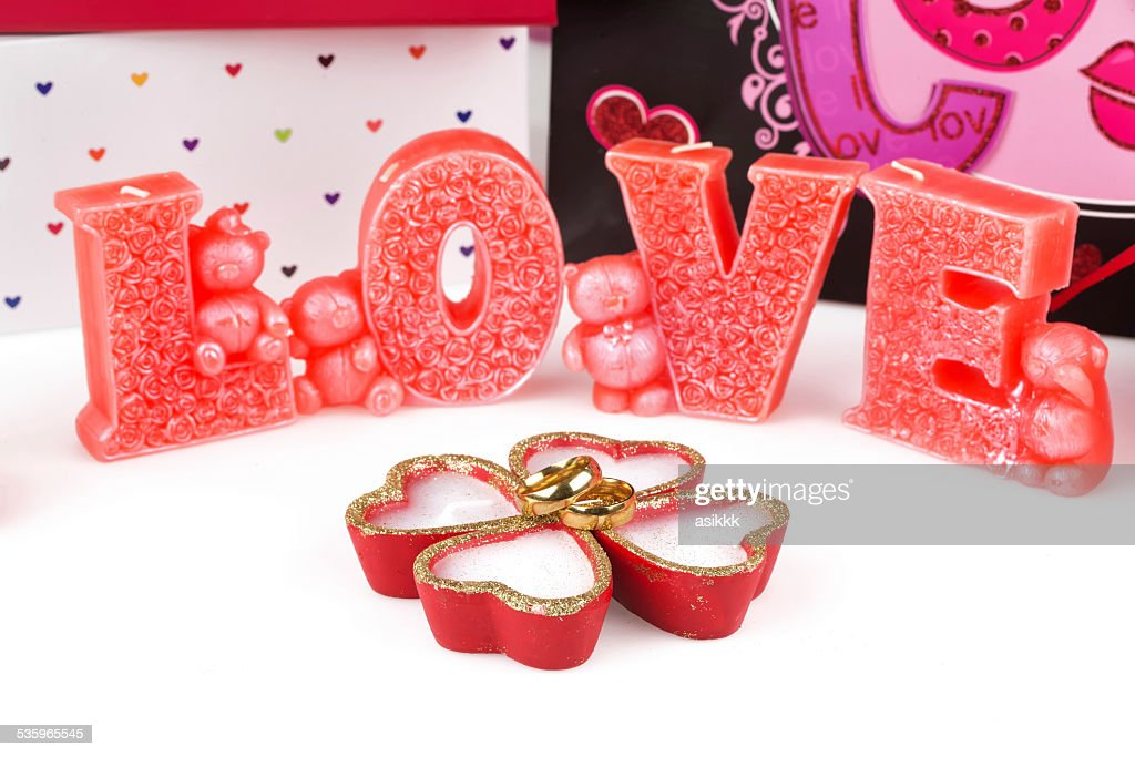wedding, heart, candle and love : Stock Photo