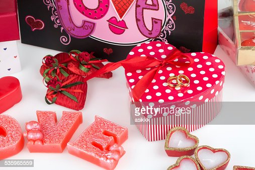 wedding, heart, candle, love, gift wrap and chocolate heart : Stock Photo