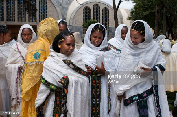 Wedding in St Mary of Zion church Aksum Ethiopia Wedding guests perfectly dressed for the occasion at the modern St Mary of Zion Church of Axum In...