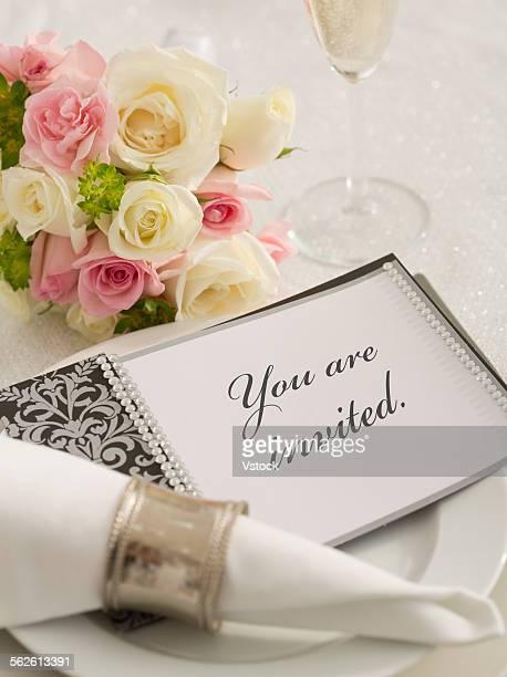 Wedding invitation on plate