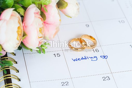 Wedding note on a calendar sets a reminder : Stock Photo
